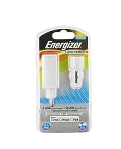 Energizer HighTech - Cargador 3 en 1 para iPhone, iPod e iPad (2 puertos USB y coche, 2,1 A)