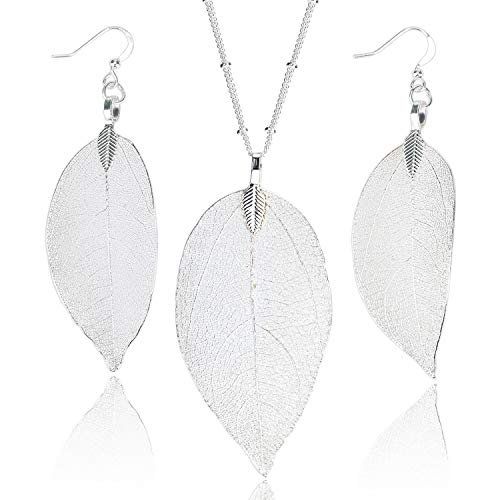 (BOUTIQUELOVIN Dangle Bohemian Silver Long Leaf Pendant Necklace and Earring Set Cool Dainty Jewelry for Women Girls)
