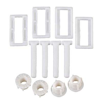 RDEXP White Plastic Toilet Seat Cover Hinge Blind Hole Rectangular Nut Screws Pack of 4
