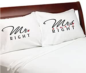 Amazon Com Mr Right Mrs Always Right Pillow Cases 1st