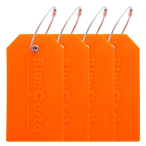 BlueCosto 4x Luggage Tags Suitcase Tag Bag Identifier ID Labels Office Travel Label - Orange