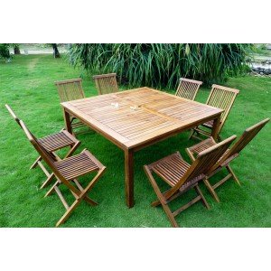 Mobiler de jardin en teck : ensemble table carree 150 cm - 8 chaises ...