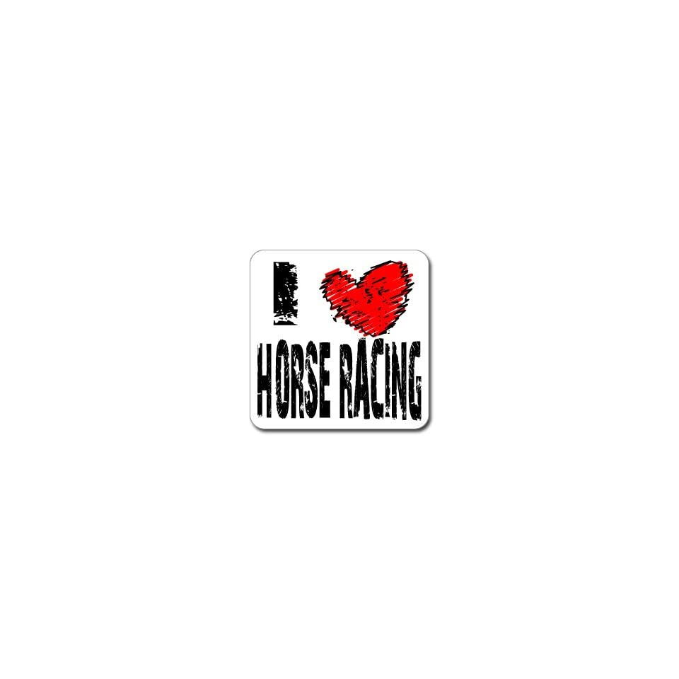 I Love Heart HORSE RACING   Window Bumper Laptop Sticker