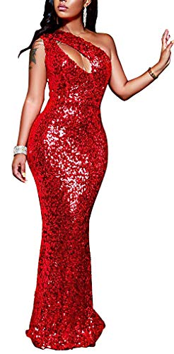 Fadvanes Sexy Sparkly Sequins Maxi Dress One Shoulder Hollow Out Cocktail Wedding Party Gowns, Red, S (One Sequin)