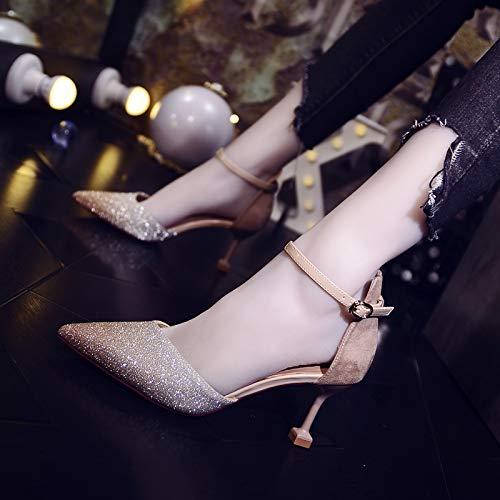 Yukun zapatos de tacón alto Tacones Altos Femeninos Tacón Aguja Salvaje con Un Gato con Una Palabra Hebilla Zapatos De Dama De Honor Apricot