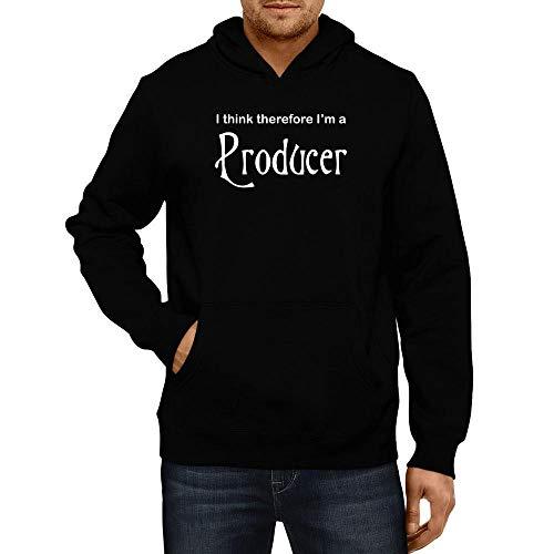 (Idakoos I Think Therefore I'm Producer Hoodie L Black)