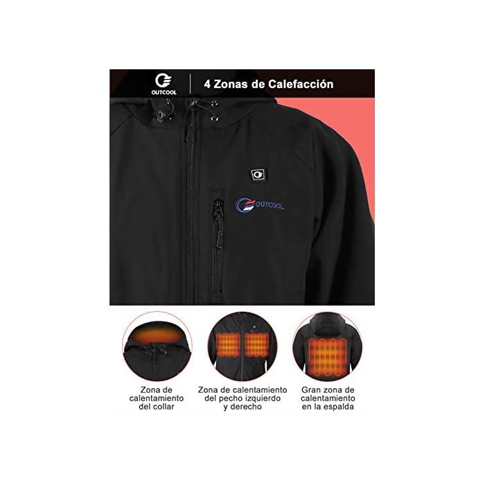 41sGvVQwLlL 4 Grandes Zonas de Calentamiento: La chaqueta térmica OUTCOOL tiene elemento de calefacción en 4 zonas: pecho izquierdo, pecho derecho, espalda y cuello. Tecnología de calentamiento rápido de alta calidad, que se calientan rápidamente durante los períodos fríos al emitir una buena cantidad de calor 4 Modos de Control de Temperatura: La chaqueta térmica calentada tiene 4 modos de control de temperatura de diseño: ① Precalentamiento: luz roja intermitente, calentamiento rápido; ② temperatura alta: luz roja; ③ temperatura media: luz blanca ; ④ temperatura baja: luz azul Capa Exterior Impermeable y Forro Polar: La chaqueta térmica térmica tiene una capa exterior hecha de tela impermeable a prueba de viento y tiene un buen efecto protector en el mal tiempo; el forro interior es de felpa, más abrigado y muy adecuado para escalada al aire libre, esquí, motociclismo, etc.