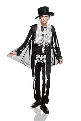 Adult Mens Mr Skeleton Halloween Costume Dead Gentleman Dress Up & Role Play (One size fits most., black and (Disfraces Halloween Hombre Originales)
