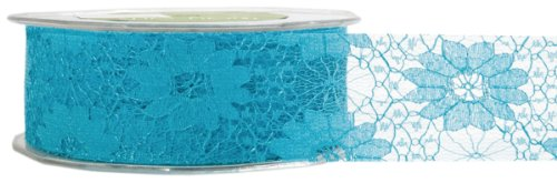 May Arts 1-1/2-Inch Wide Ribbon, Turquoise Lace -