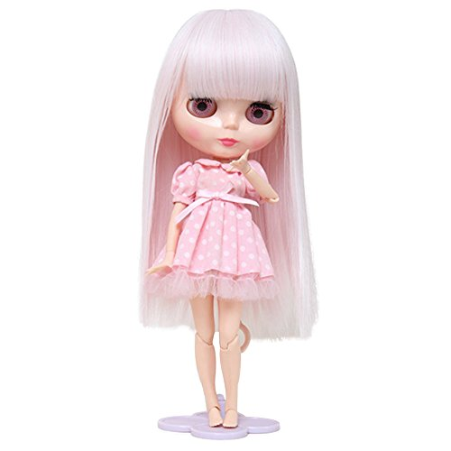 Wigs Only!Pale Pink Blythe Pullip Doll Wig Heat Resistant Doll Hair with 9.84 Inch Full Bangs Ball Jointed Dolls Best Gifts and Hobby For Girls