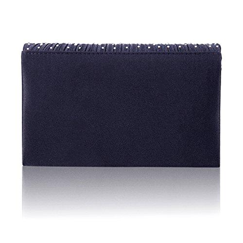 Envelope Wedding Satin Womens Bridal Dark Clutch Bag Blue Ladies Handbag Bag Evening everso Diamante q0ngpYvv