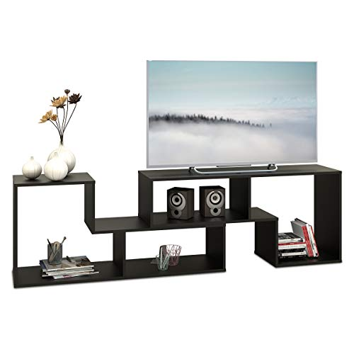 2 Piece Console - DEVAISE Wood TV Stand Storage Console,L shaped Bookcase/Bookshelf in Black, 0.6