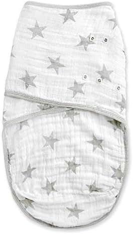 Aden by aden + anais Easy Swaddle Sack   Muslin Baby Wrap   Ideal for Baby Girls & Boys   Newborn Boy & Girl, Unisex Infant Wraps, Wearable Swaddles Sleep Sack, Small/Medium