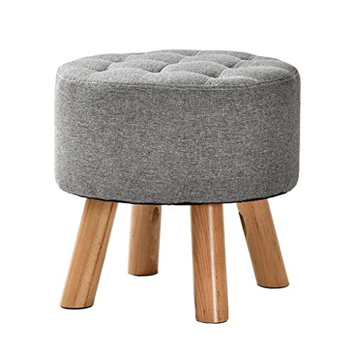 RMXMY Simple Fashion Garden and Comfortable Wind Stool Solid Wood Small Bench Creative Round Living Room Bedroom Home Adult Home Fabric Sofa Low Stool Change Shoe Bench (Color : A)