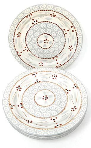 Temp-tations Set of 4 Hand Painted Stoneware Salad/Dessert Plate Choose Your Shape (Round Old World Gray)