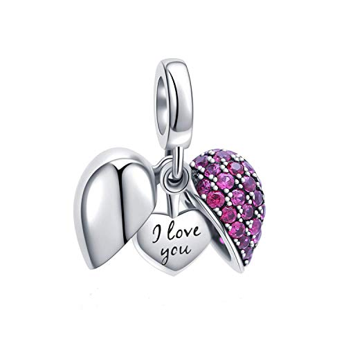 I Love You Heart Charm Bead Crystal 925 Sterling Silver for European Charms Bracelet, Xmas,Anniversary Gifts (Fushcia ()