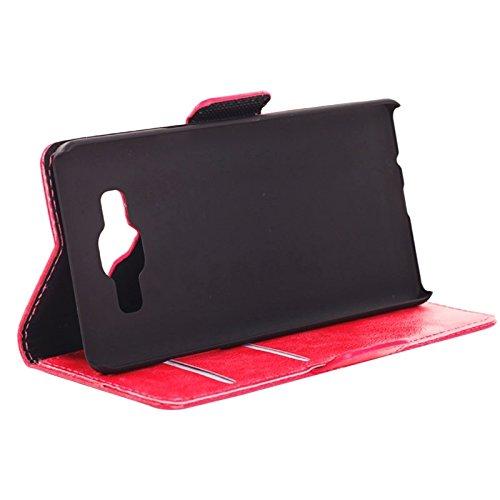 Funda Iphone, Textura de la piel de aceite horizontal Flip caja de cuero con ranuras para tarjetas y cartera y soporte para Samsung Galaxy A5 ( Color : White ) Magenta