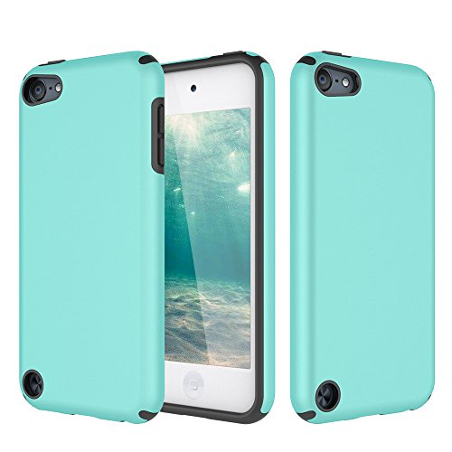iPod Touch 5 Case, iPod Touch 6 Case, KZONO Heavy Duty High Impact Armor Case Cover 2in1 Soft Shell Protective Case for Apple iPod touch 5 6th Generation -MintGreen+Grey