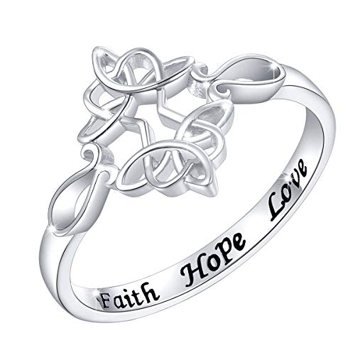 (Sterling Silver Engraved Faith Hope Love Celtic Sideways Cross Ring for Women Girls, 18