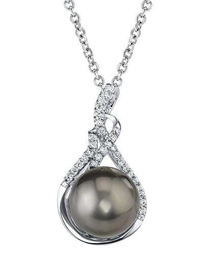 11mm Tahitian South Sea Cultured Pearl & Diamond Luciana Pendant Necklace in 14K Gold by The Pearl Source