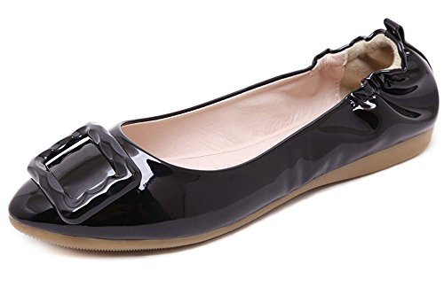 Plaid&Plain Womens Leather Round Toe Buckle Slip On Flats Shoes Black WSD82n