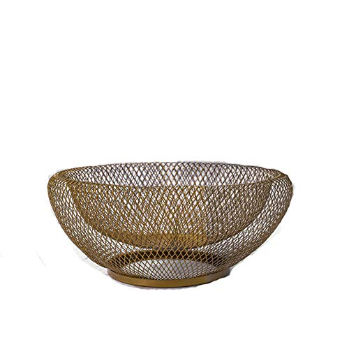 Gold Vegetable Bowl - YAKU Unique Large Mesh Net Metal Fresh Fruit Container Basket Simple Art Iron Wire Organizer Vegetable Rack Storage Tray Holder Table Snack Bowl Artificial Display Round Shelf Strainer (Gold)