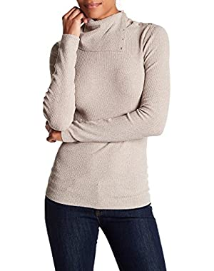 Leendelly Volt Asymmetrical Turtleneck Sweater, Taupe Mix XS