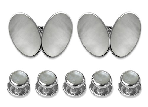 Sterling silver mother of pearl double-sided large oval Cufflinks Shirt Dress Studs Gift Set by Select Gifts