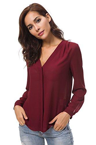 Camicia Puro Camicette Donne Colore Lunga Manica Chiffon Blusa Bordeaux Scollo GoCo Rosso Pieghe Con Urban V Awqf7A