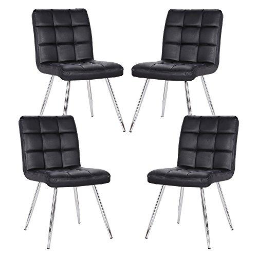 POLY & BARK EM-308-BLK-X4 Petras Vegan Leather Chair, Set of 4, ()