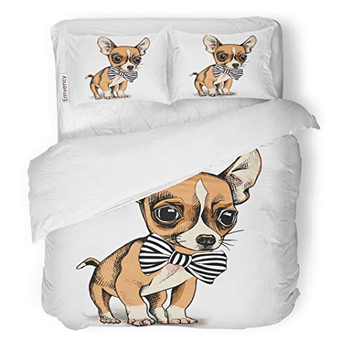 Semtomn Decor Duvet Cover Set Twin Size Brown Cute Puppy Chihuahua in Tie Dog Drawn Hand 3 Piece Brushed Microfiber Fabric Print Bedding Set Cover
