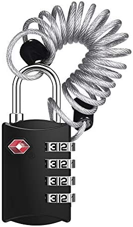 TSA Candados de combinaci/ón de d/ígitos y candado de seguridad de viaje con combinaci/ón de cables de acero candado de viaje Negro pack de 2 l-large