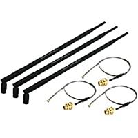 Super Power Supply 3 x 9dBi RP-SMA Dual Band 2.4GHz 5GHz + 3 x 8in / 20cm U.fl / IPEX Cable Antenna Mod Kit No Soldering for Wireless WiFi Routers Netgear R6100 RC6200 V1 V2 R6250 RC6300 AC1450 WNDR4700 Belkin F9K1112 AC1000 F9K1113 V1 V2 AC1200 F9K1115 V1 V2 AC1750 Buffalo WHR-600D WHR-300HP2 WHR-300HP2D WHR-1166D WZR-1750DHP WZR-1750DHPD D-Link DIR-868L DIR-850L DIR-860L DGL-5500 DIR-820L DIR-810L DIR-510L DIR-808L DIR-855L DIR-836L DIR-826L DIR-636L DIR-857 DIR-645 DIR 865L ; AC1750 AC1600 AC1200 N900 N750 N600 N300 Mini PCIe Cards Network Extension Bulkhead Pigtail PCI WiFi WAN Repeater