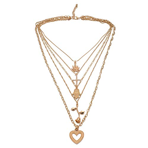 soAR9opeoF Maple Hand of Fatima Cross Heart Rose Charm Multilayer Chain Necklace Women Fashion necklace chain ring Party wedding Banquet Valentine Birthday Gifts Golden