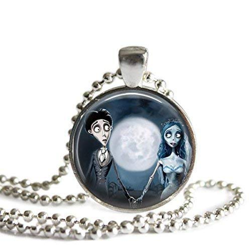The Corpse Bride Emily and Victor 1 inch Silver Plated Picture Pendant on a 24 inch Necklace