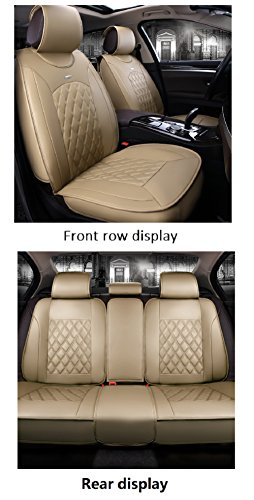 Beige Leather Set - JOJOHON Luxury PU Leather Auto Car Seat Covers 5 Seats Full Set Universal Fit (Beige)