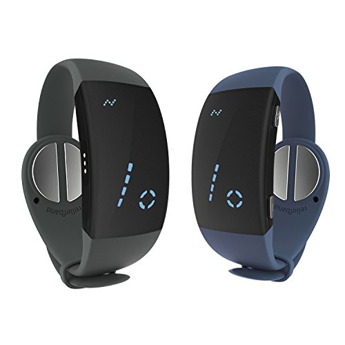 Price comparison product image New Reliefband 2.0 Twin Pack Motion Sickness Band Bundle - Fast,  Drug-Free Relief from Nausea,  Retching,  Vomiting - Charcoal & Slate Blue Color,  Unisex Design