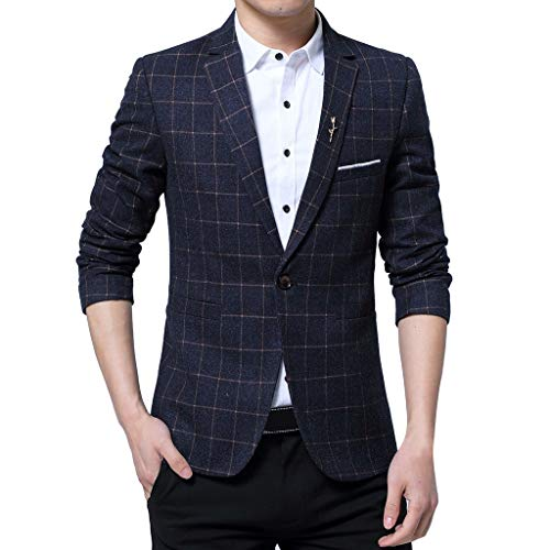 degasAdG Men Formal Jacket Men's Business Coat Fashion One Button Suit Self-Cultivation Lattice Dress Shirt US 4-14 (L, Black)