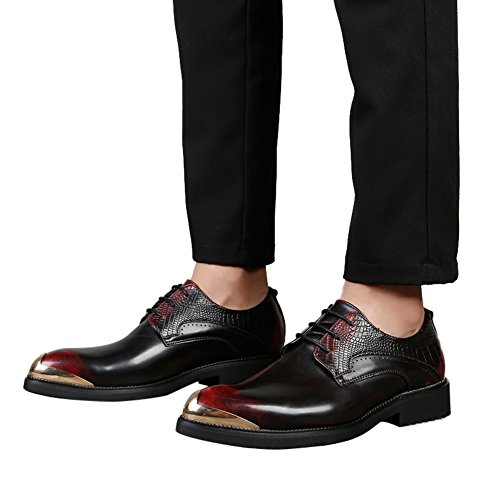 buy cheap websites very cheap for sale Mens shoes Alligator Leather Silver metal tip Wingtip Lace up Dress Shoes Casual Santimon Black Red the cheapest cheap price cheap low shipping fee oMpnO