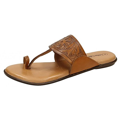 Navy Sandals Leder Damen Tooled Damen Kollektion Flower Toeloop n8FRPAwq