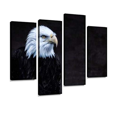 Canvas Wall Art Painting Pictures Alert Intense American Bald Eagle Portrait Modern Artwork Framed Posters for Living Room Ready to Hang Home Decor - Eagle Bald Portrait