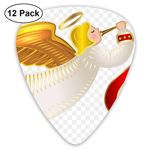 Christmas Nativity Angel Cherub Blow The Horn Bendy Ultra Thin 0.46 Med 0.73 Thick 0.96mm 4 Pieces Each Base Prime Plastic Jazz Mandolin Bass Ukelele Guitar Pick Plectrum Display