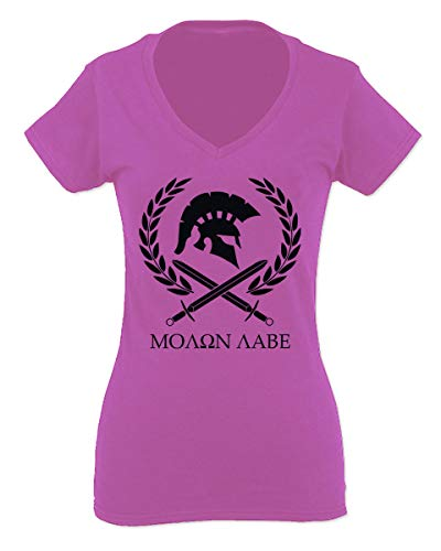 (American Come and Take Greek Molon Labe Spartan Workout for Women V Neck Fitted T Shirt (Pink Medium))