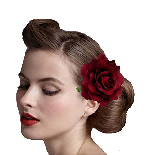 Rose Flower Hair Clip Flamenco Dancer Pin up Flower Brooch from Ever Fairy