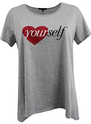 Women Plus-Size Short Sleeve Rhinestones Fashion Knit Blouse Tee T Shirt Top Gray 3X G170.20L-1