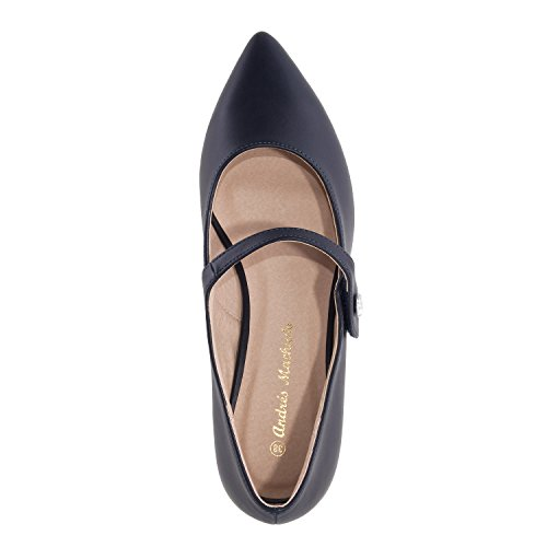 Andres Machado AM5204.Mary Janes in Velvet/Faux Leather.Large Sizes: UK 8 to 10.5/EU 42 to 45. Navy Faux Leather bmlGlMRm6g