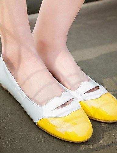 sintética uk4 Casual talón negro redonda eu36 zapatos piel plano rosa de de punta cn36 mujer amarillo PDX pink us6 Flats qUYPXwU