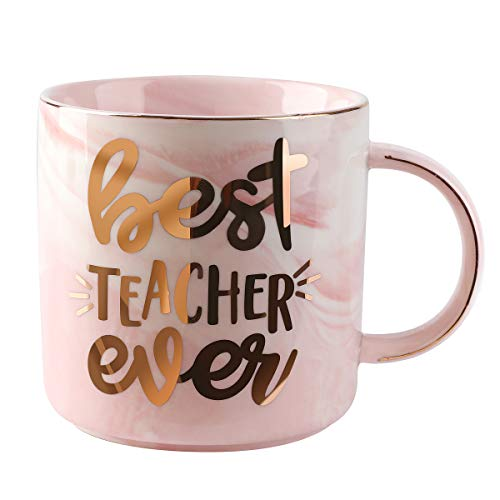 TOTWAY Teacher Gifts for Women - Best Teacher Ever - Gift for Kids Teacher Tea Cup-Pink Marble Ceramic Coffee Mug Tea Cup 11oz