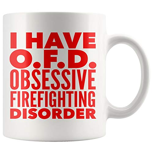 ArtsyMod OFD OBSESSIVE FIREFIGHTING DISORDER Typography Premium Coffee Mug, PERFECT FUN GIFT for the Firefighter! Attractive Durable White Ceramic Mug (15oz., Red Print) ()