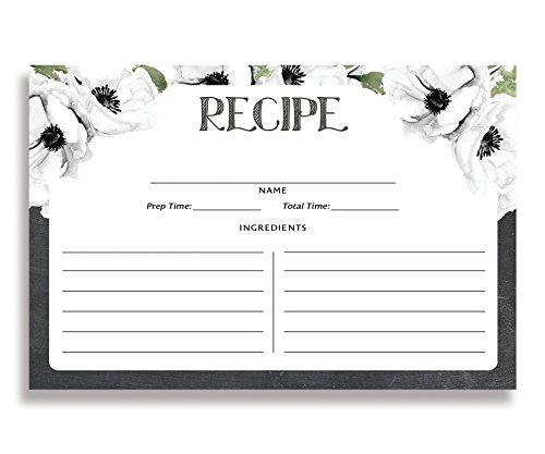Process Stock (White Floral and Chalk Recipe Cards ( Set of 25 ) 4x6 inches. Double Sided Card Stock Recipe Card Set | Leona White Chalk)